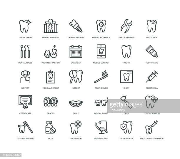 detal icon set - dental equipment stock illustrations