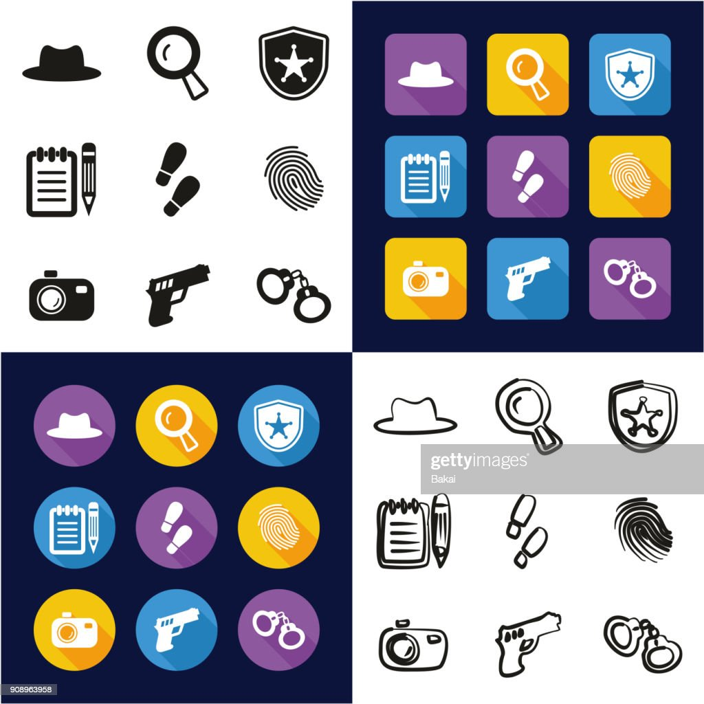 Detective All in One Icons Black & White Color Flat Design Freehand Set