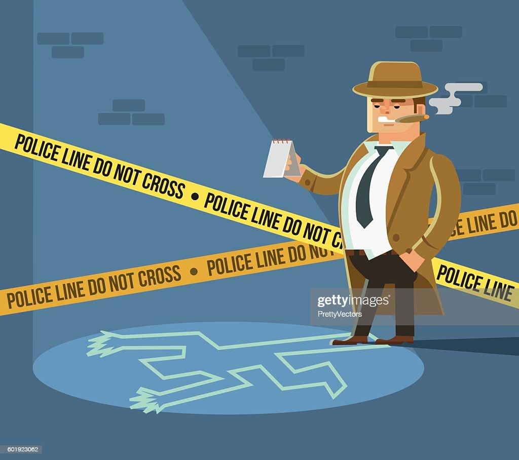 Detective at crime scene. Dead body