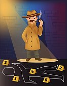 Detective character research crime scene