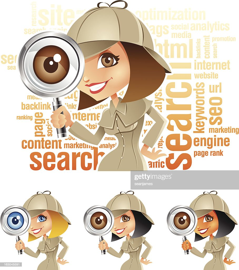 Detective Girl with Magnifying Glass doing Keyword Internet Search