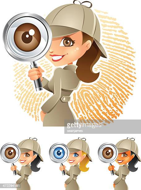 detective girl with magnifying glass - inspector stock illustrations, clip art, cartoons, & icons
