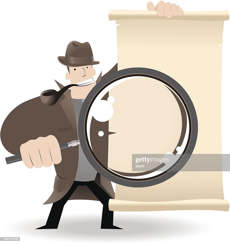 Detective Holding A Magnifier And Showing Something