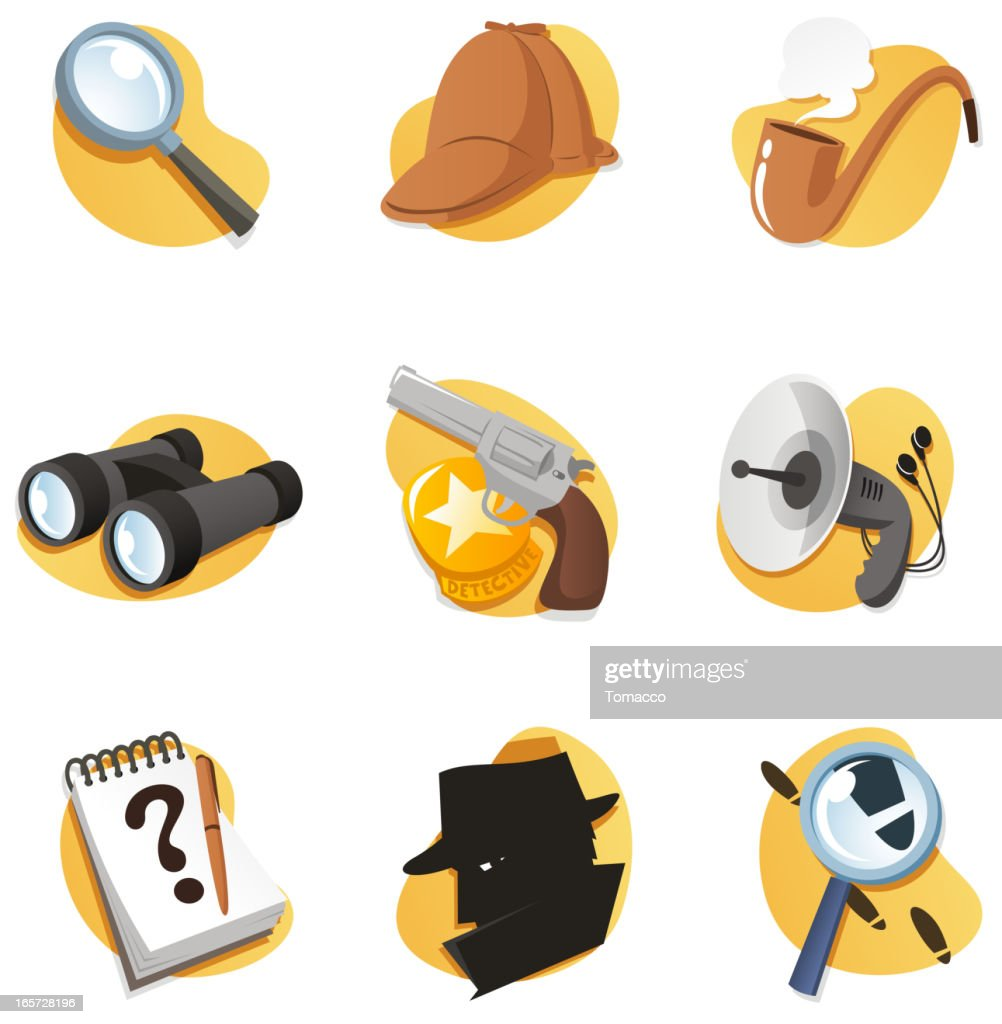 Detective Icon Set with Magnifying Glass Binoculars Gun Radar Notepad