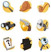 Detective Icon Set with Magnifying Glass Binoculars Gun Radar Notepad