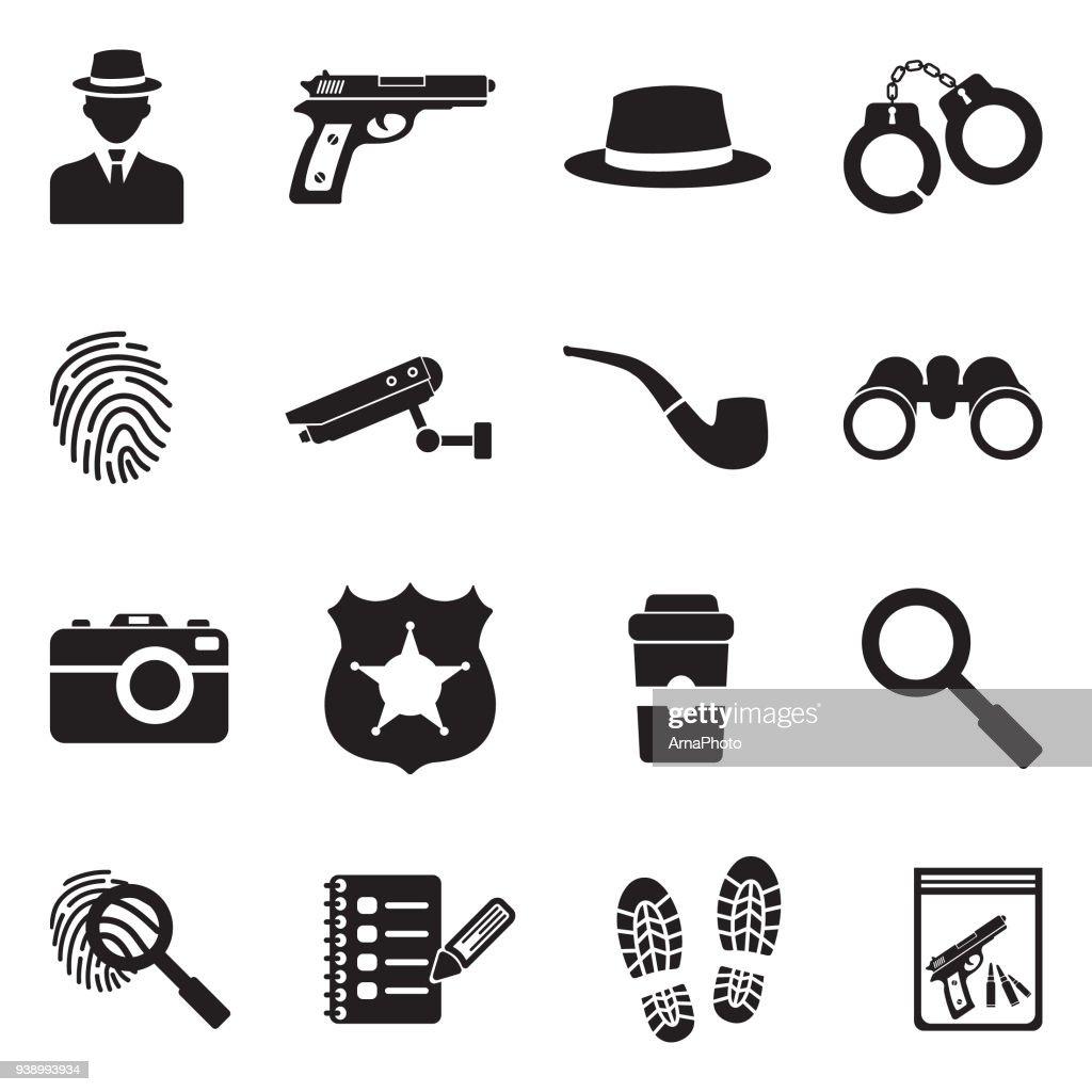 Detective Icons. Black Flat Design. Vector Illustration.