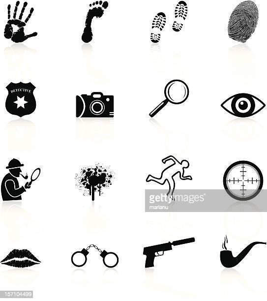 ilustraciones, imágenes clip art, dibujos animados e iconos de stock de detective iconos de la serie black - detective