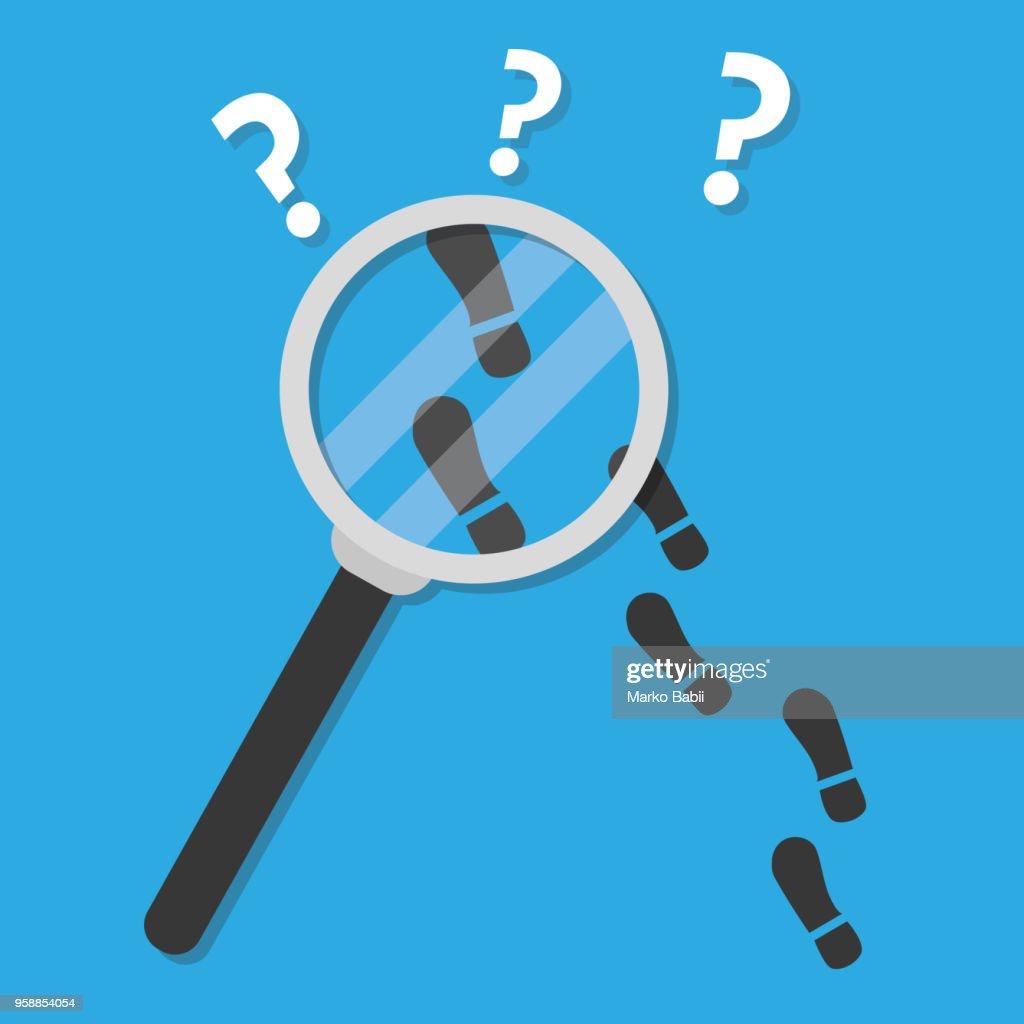 Detective inspecting. hand .flat design vector illustration.
