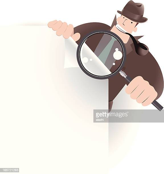 Detective Inspector With Magnifier And File, Looking,  Searching Something