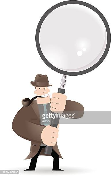 Detective Inspector With Magnifier And Pipe