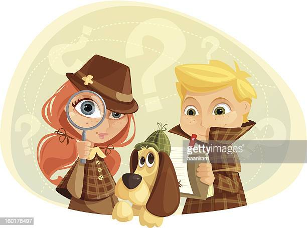 detective kids - exploration stock illustrations
