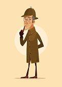 Detective man character smoking pipe