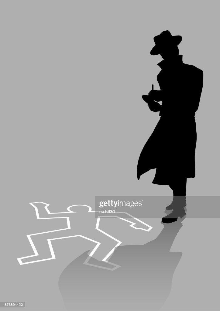Detective on crime scene