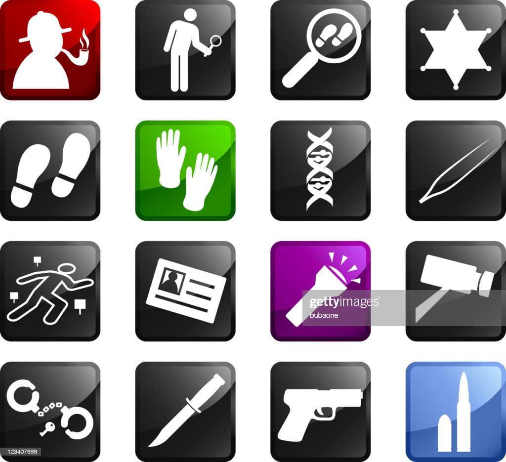 Detective ( criminal investigation ) royalty free vector icon set