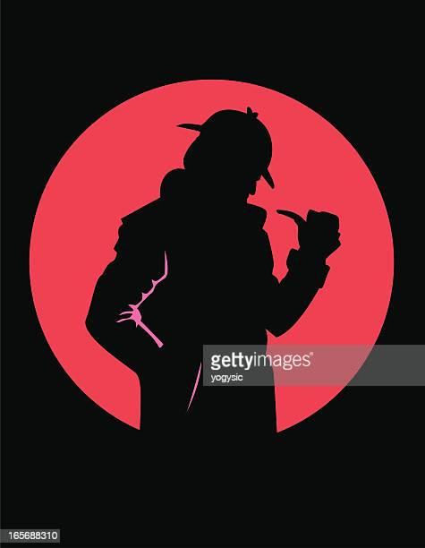 ilustraciones, imágenes clip art, dibujos animados e iconos de stock de detective silueta - detective