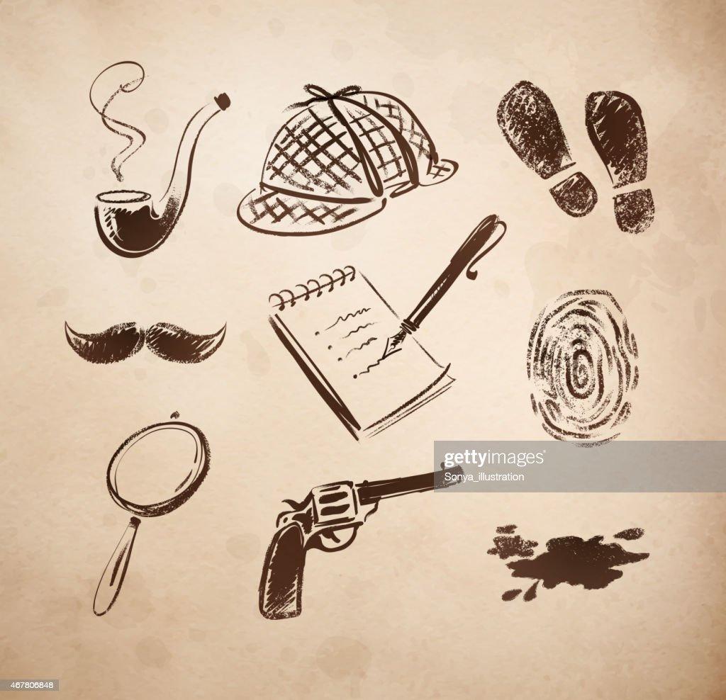 Detective sketch icons set.