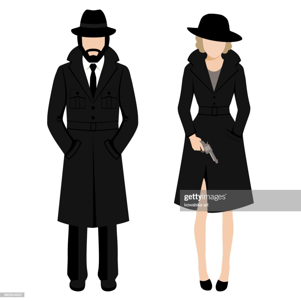 detective spy man and woman character. private ivestigation agent. mafia gangster
