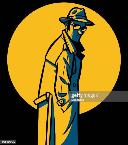 ilustraciones, imágenes clip art, dibujos animados e iconos de stock de spy detective vector - detective