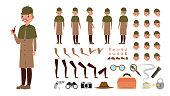 Detective Vector. Animated Tec Character Creation Set. Snoop, Shamus, Spotter Full Length, Front, Side, Back View, Poses, Emotions, Hairstyle, Gestures. Isolated Flat Cartoon Illustration