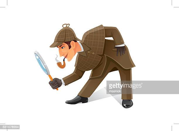 detective with magnifier glass - detective stock illustrations