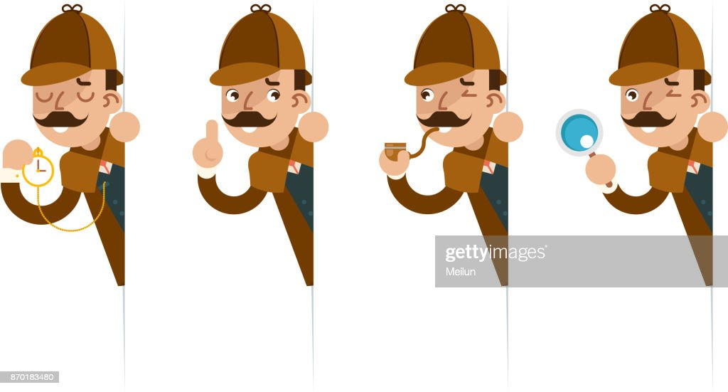 Detective with magnifying glass peeking out of the corner cartoon flat design vector illustration