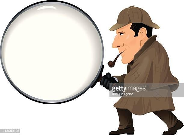 ilustraciones, imágenes clip art, dibujos animados e iconos de stock de detective con lupa - detective