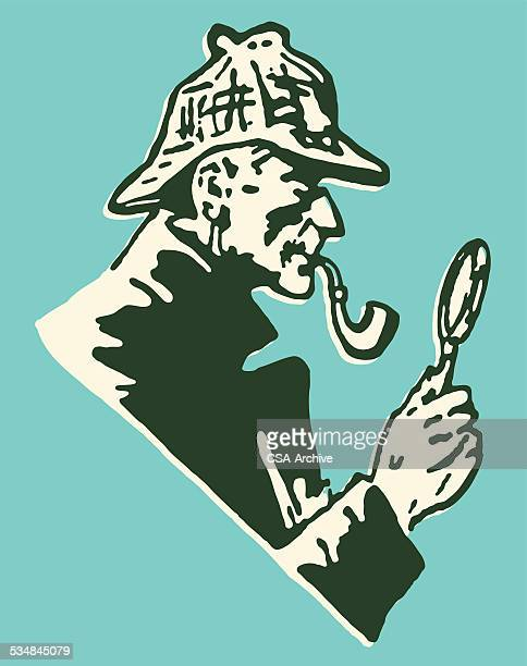 Detective with Pipe and Magnifying Glass