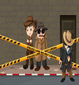 Detectives looking for clues at the crime scene