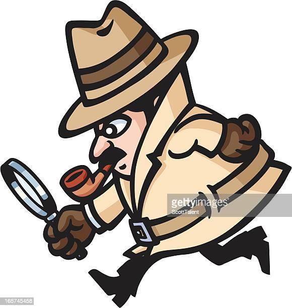 ilustraciones, imágenes clip art, dibujos animados e iconos de stock de detective de funcionamiento - detective