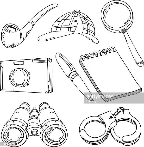Detective's tools in black and white