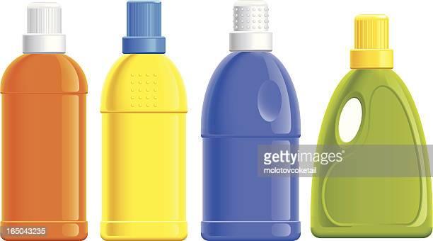 detergent bottles (vector) - laundry detergent stock illustrations, clip art, cartoons, & icons