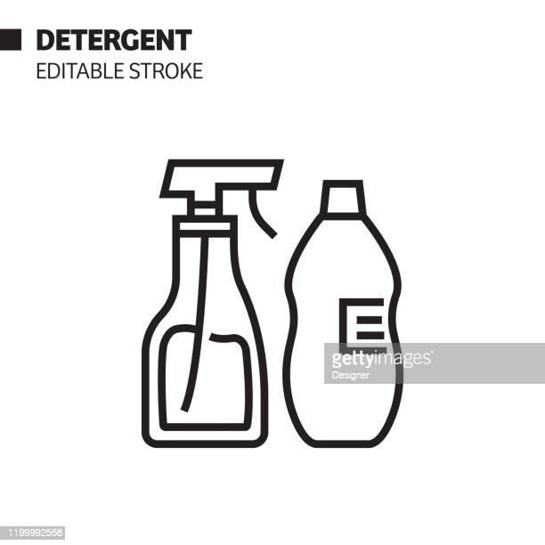 detergent line icon, outline vector symbol illustration. pixel perfect, editable stroke. - spray bottle stock illustrations