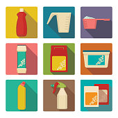 Detergent scoop in plastic containers isolated illustrations set