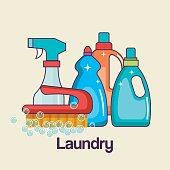 detergents and brush tools laundry and cleaning icon