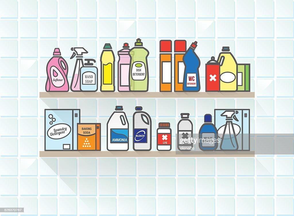 Detergents set on bathroom shelf