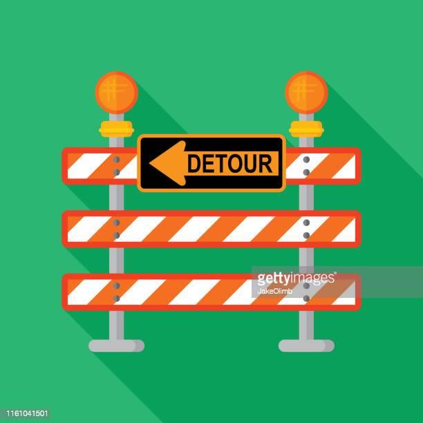 detour sign icon flat - barricade stock illustrations