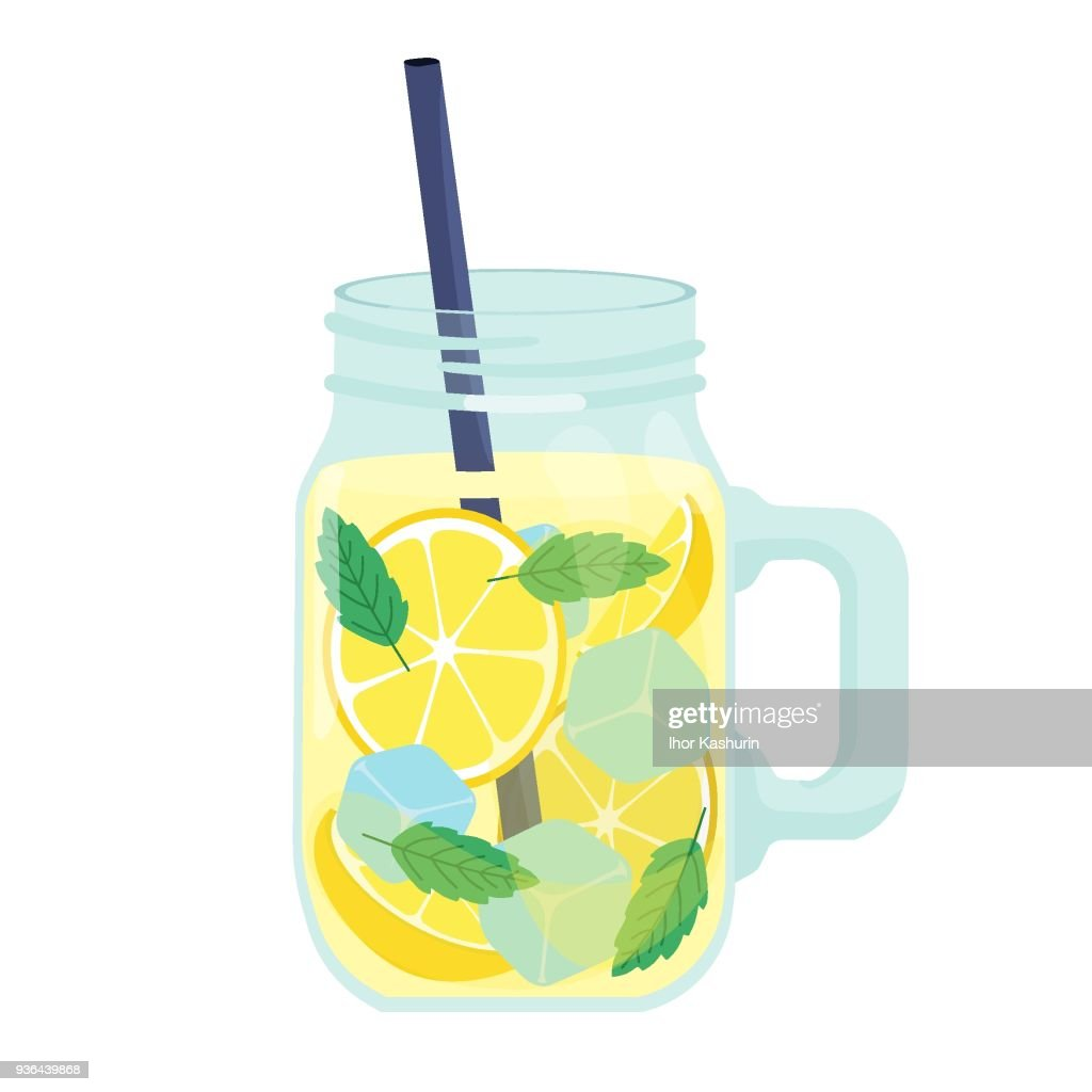 detox water drink. Realistic fresh beverage mix in a glass jar