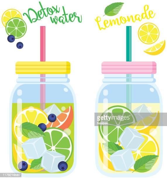 detox water - lemonade stock illustrations