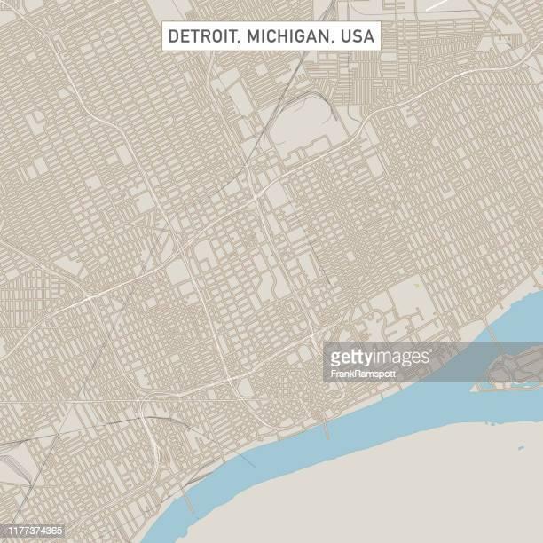デトロイトミシガン米国シティストリートマップ - デトロイト点のイラスト素材/クリップアート素材/マンガ素材/アイコン素材