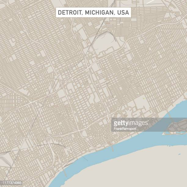 detroit michigan us city street map - detroit michigan map stock illustrations