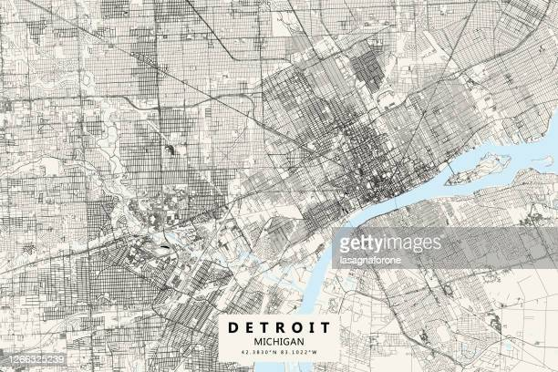 デトロイト、ミシガン州、ベクトルマップ - デトロイト点のイラスト素材/クリップアート素材/マンガ素材/アイコン素材