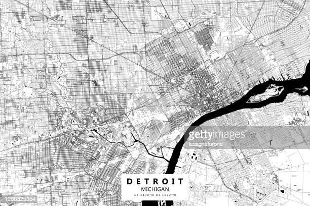 detroit, michigan, vector map - detroit michigan map stock illustrations