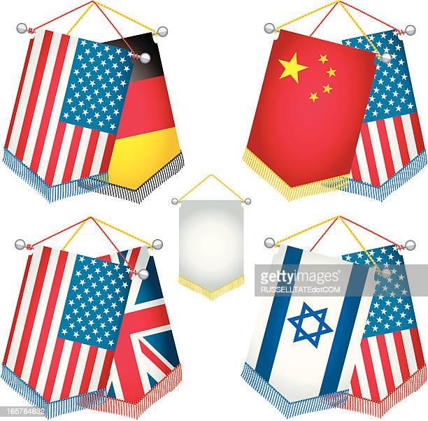 deutsch amerikanische freundschaft - freundschaft stock illustrations