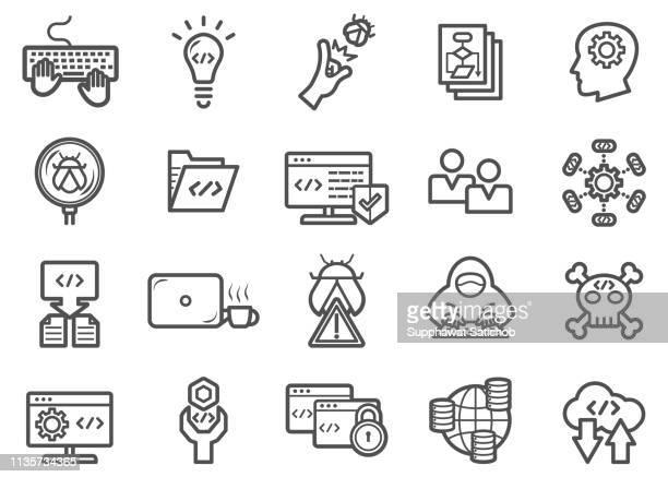 developer and programmer coding line icons set - computer bug stock illustrations
