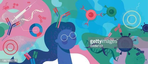developing immunotherapy vaccines - antigen stock illustrations
