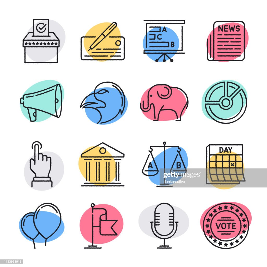 開発と民主主義落書きスタイルベクトルアイコンセット : ストックイラストレーション
