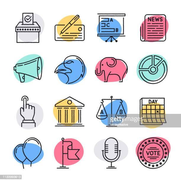 illustrazioni stock, clip art, cartoni animati e icone di tendenza di development & democracy doodle style vector icon set - attivista