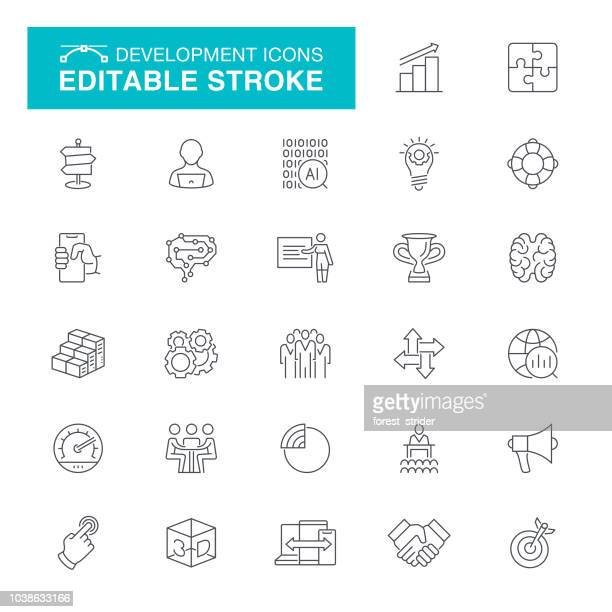 development editable stroke icons - thin stock illustrations