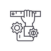 development, hand with ruler concept vector thin line icon, symbol, sign, illustration on isolated background