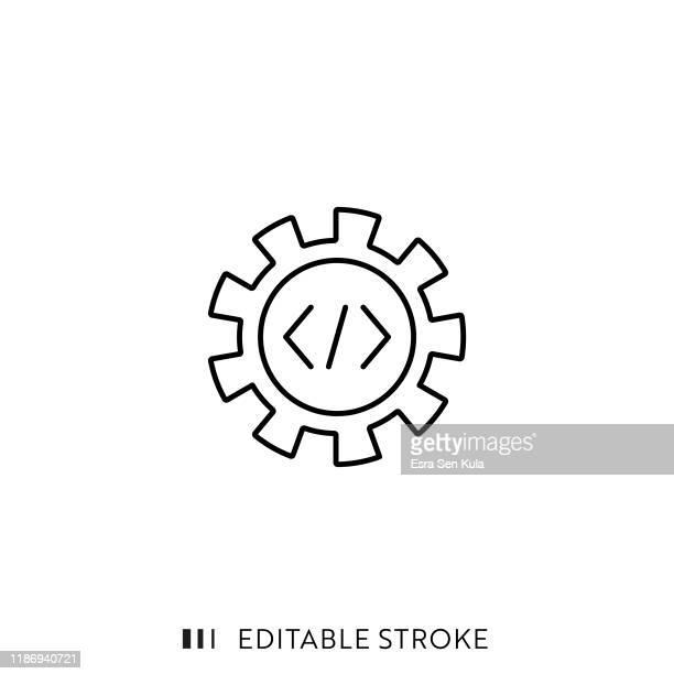 entwicklungssymbol mit bearbeitbarem strich und pixel perfekt. - programmierer stock-grafiken, -clipart, -cartoons und -symbole